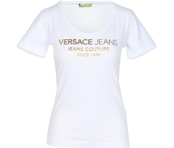 White Cotton Slim Fit Women's T-Shirt - Versace Jeans Couture