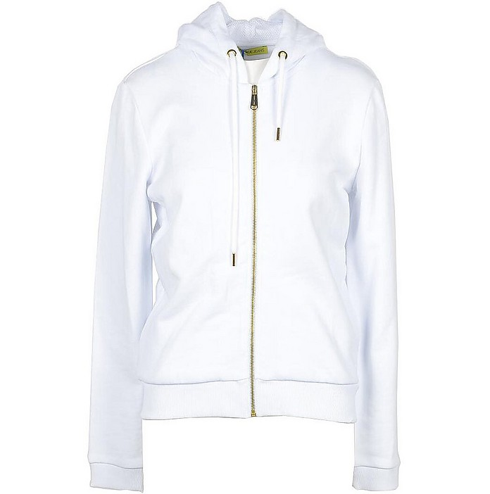 White Cotton Zip Hoodie - Versace Jeans Couture