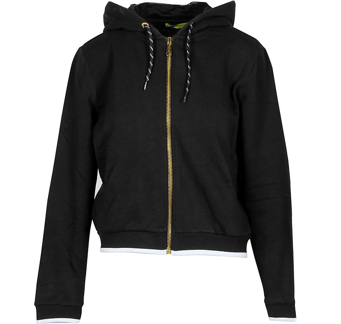 Black Cotton Zip Hoodie - Versace Jeans Couture