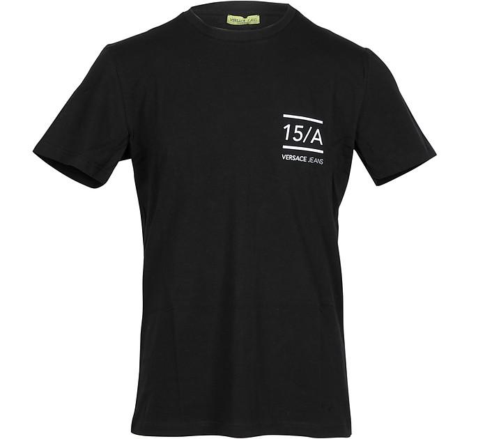 Black Cotton w/White Signature Men's T-shirt - Versace Jeans