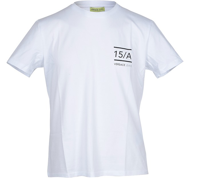 White Cotton w/Black Signature Men's T-shirt - Versace Jeans