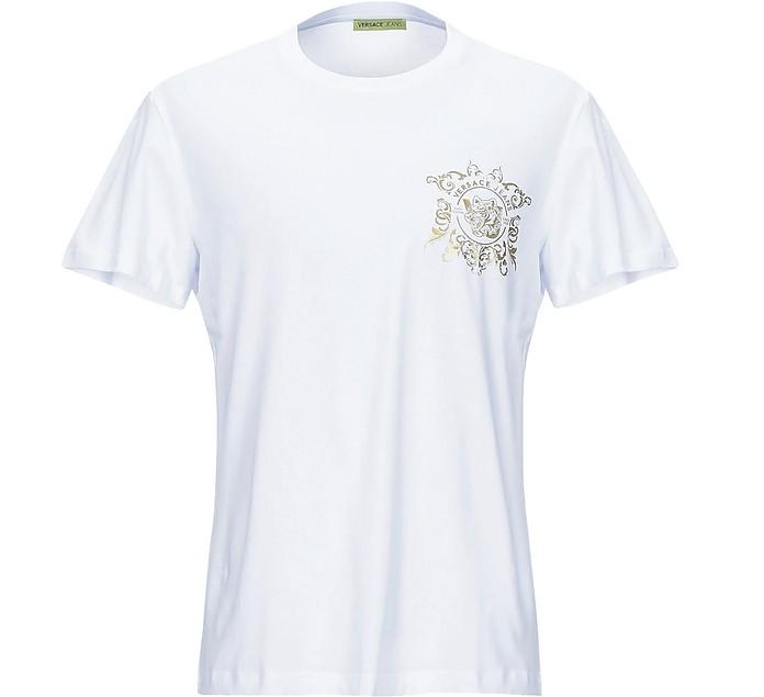 White Cotton & Gold Signature Print Men's T-shirt - Versace Jeans