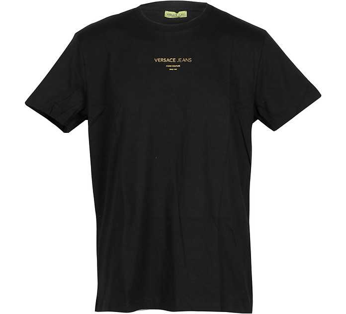 Black Cotton  Men's T-shirt w/Signature Print - Versace Jeans