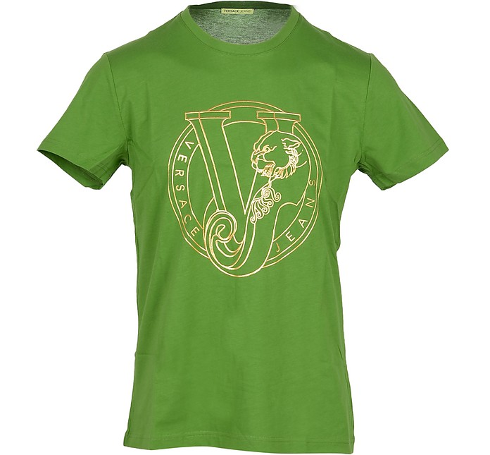 Green Cotton  Men's T-shirt w/Signature Print - Versace Jeans