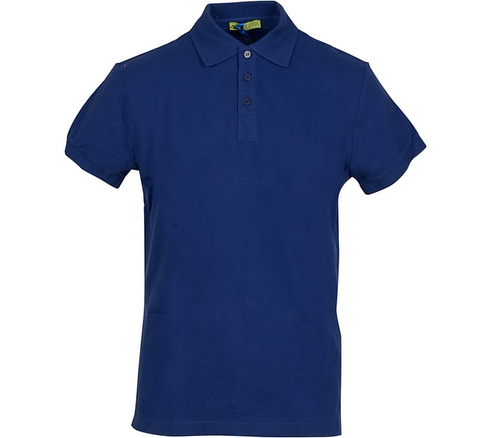 Blue Cotton Men's Polo Shirt - Versace Jeans