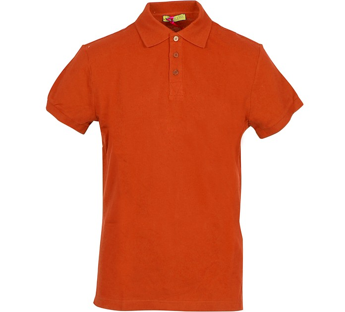 Coral Red Cotton Men's Polo Shirt - Versace Jeans