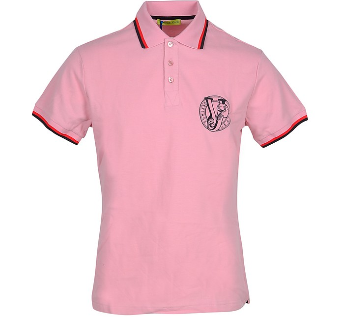 Pink Cotton Men's Polo Shirt - Versace Jeans