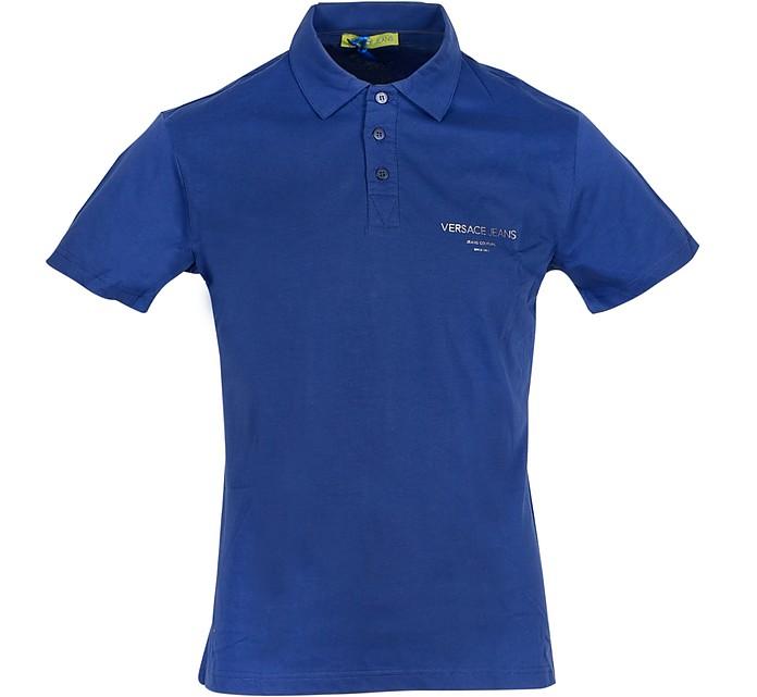 Ocean Blue Cotton Men's Polo Shirt - Versace Jeans