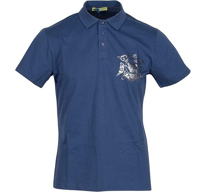 Blue Cotton Men's Polo Shirt w/Silver logo - Versace Jeans