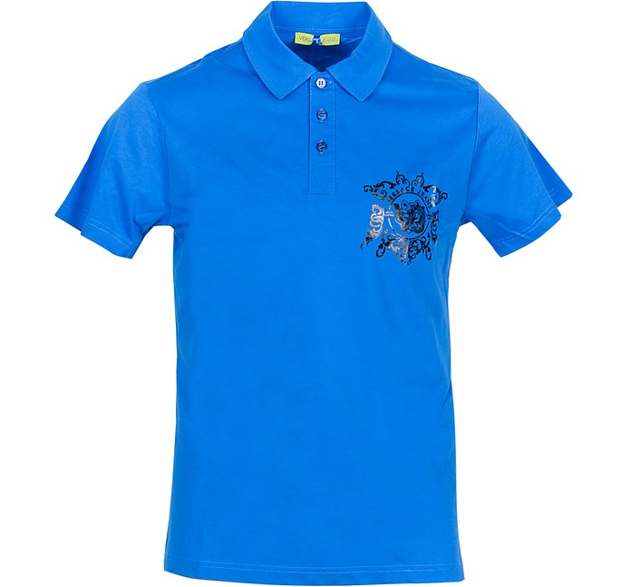 Bright Blue Cotton Men's Polo Shirt w/Logo - Versace Jeans