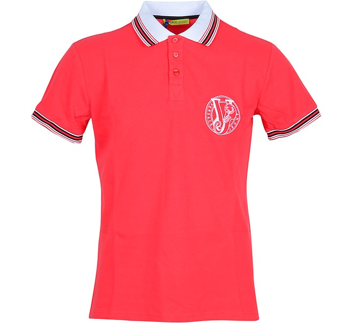 Bright Red Cotton Men's Polo Shirt w/Logo - Versace Jeans