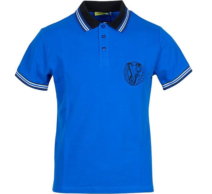 Bright Blue Cotton Men's Polo Shirt w/Logo - Versace Jeans