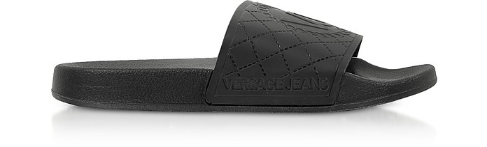 Sea Collection Black Embossed VJ Rubber Slides - Versace Jeans