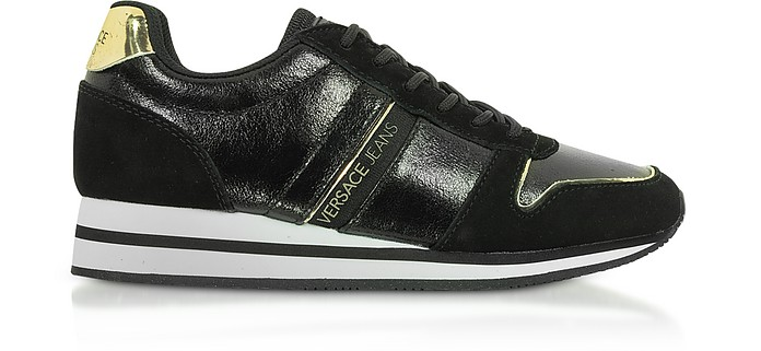 Fondo Stella Dis. 1 Black Laminated & Suede Sneakers - Versace Jeans