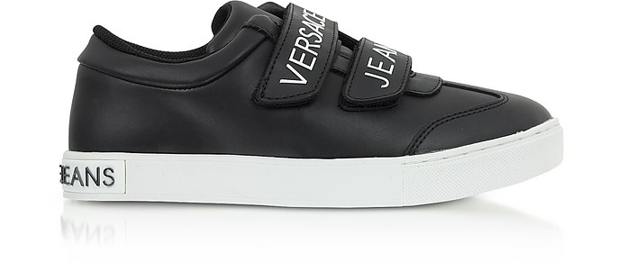 Black Leather Signature Women's Sneakers w/Velcro Straps - Versace Jeans