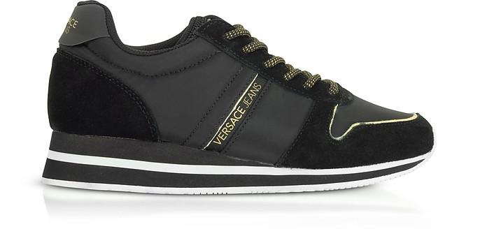 Stella Black Nylon & Suede Women's Sneakers - Versace Jeans