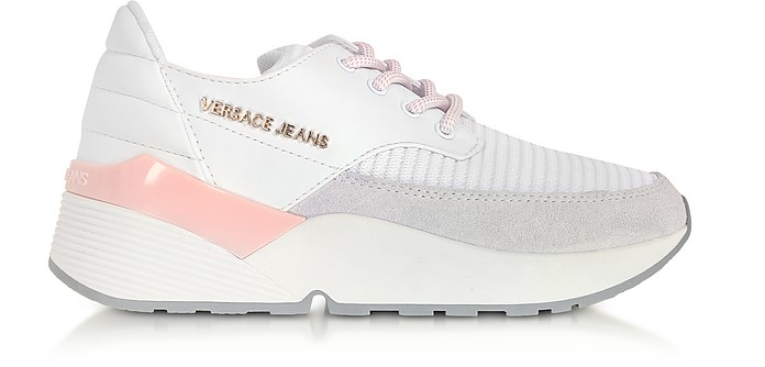 High Running White Knitted Mesh and Suede Women's Sneakers - Versace Jeans