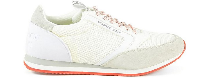 New Running White Mesh and Suede Men's Sneakers - Versace Jeans