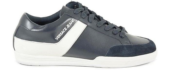 New Marc Navy Blue Leather Suede Men's Sneakers - Versace Jeans