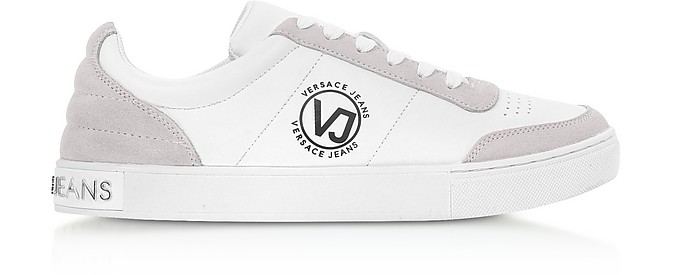 Fondo PP Dis.4 White and Grey Synthetic & Suede Sneakers - Versace Jeans
