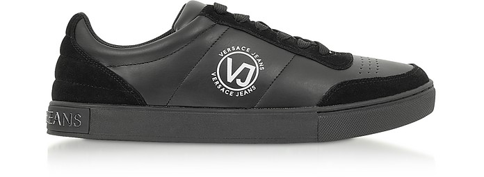 Black Leather & Suede Signture Men's Sneakers - Versace Jeans