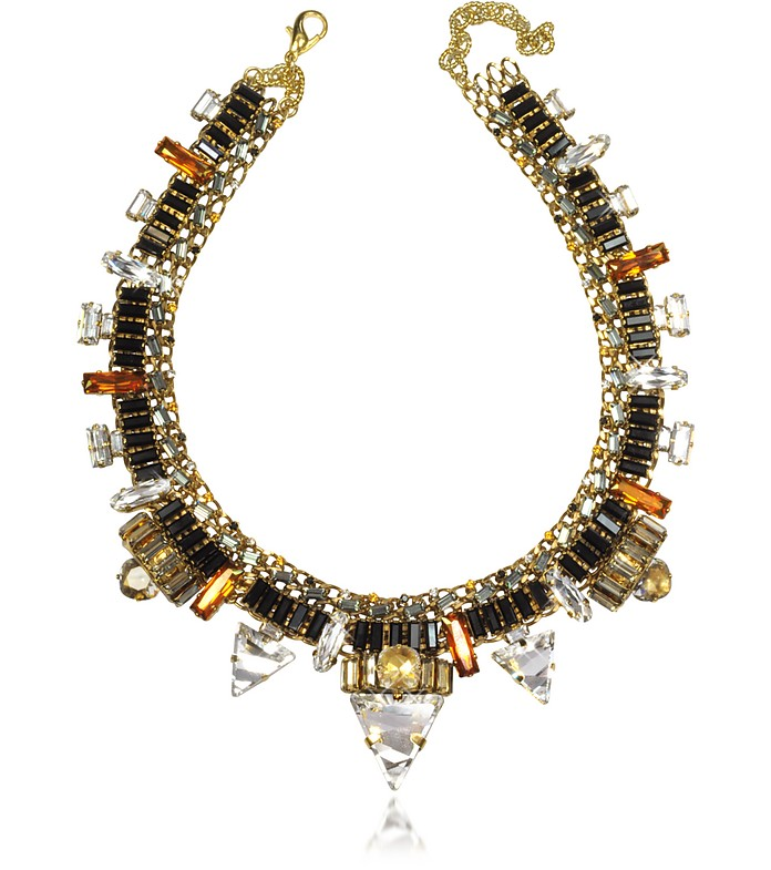 Xenon Golden Crystal Necklace  - Erickson Beamon