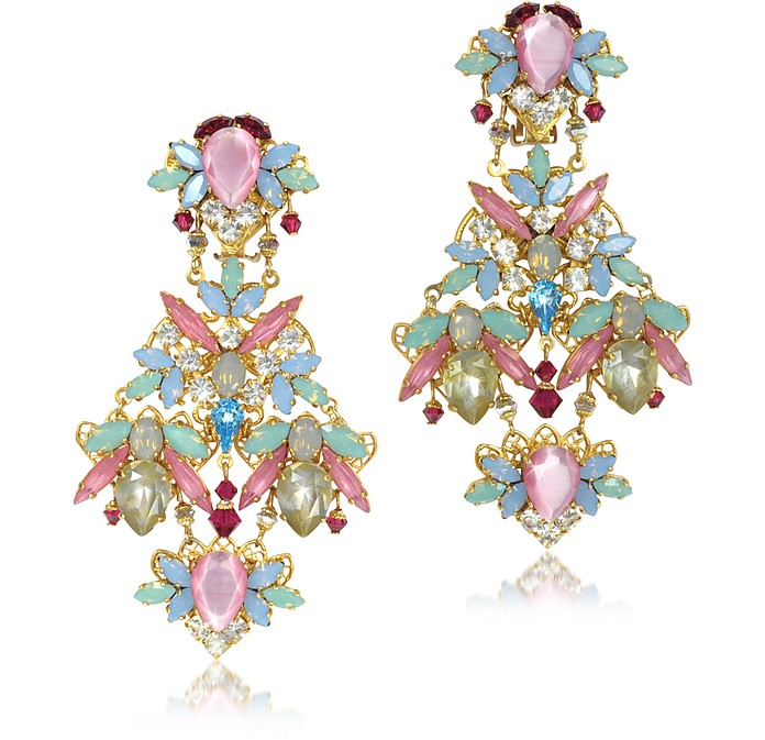 Dolores Crystals Drop Clip On Earrings - Erickson Beamon