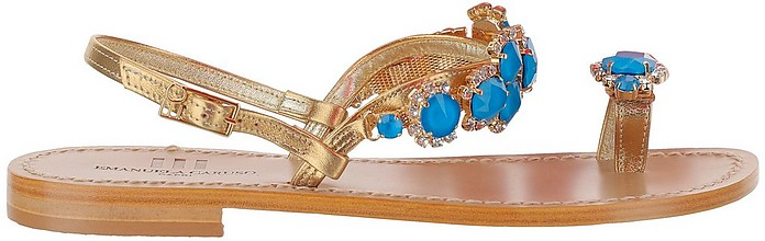 Blue Beads Golden Leather Thong Flat Sandals - Emanuela Caruso