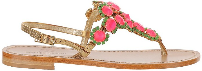 Golden Leather Thong Flat Sandals w/Pink and Green Crystals - Emanuela Caruso