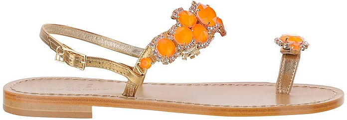 Golden Leather Thong Flat Sandals w/Orange Crystals - Emanuela Caruso