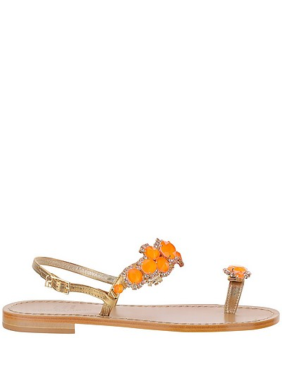 Emanuela Caruso Blue Beads Golden Leather Thong Flat Sandals
