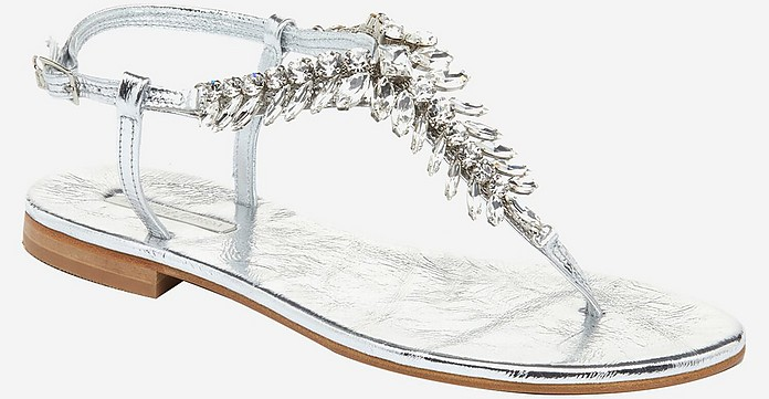 Laminated Silver Leather and Crystals Flat Sandals - Emanuela Caruso