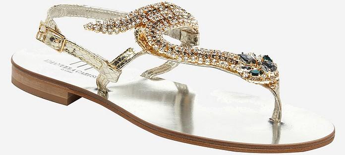 Metallic Leather Jeweled Flat Sandals - Emanuela Caruso