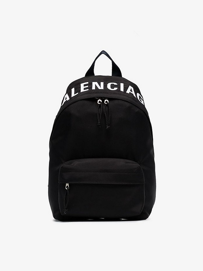 Black Small Wheel Logo Backpack - Balenciaga