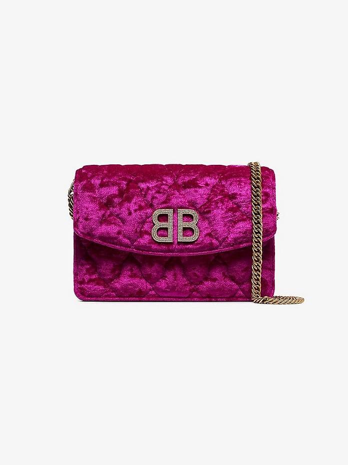 Balenciaga Shoulder BB Velvet Quilted Chain Shoulder Bag W/Crystal Logo
