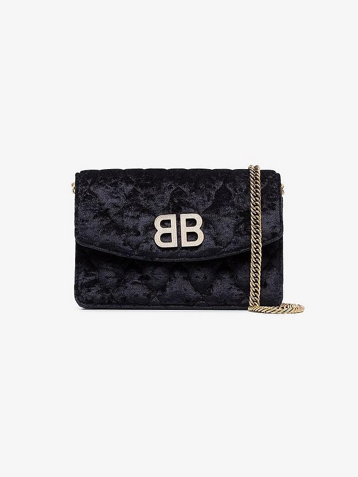 Balenciaga Accessories Black Velvet Bb Crystal Logo Bag