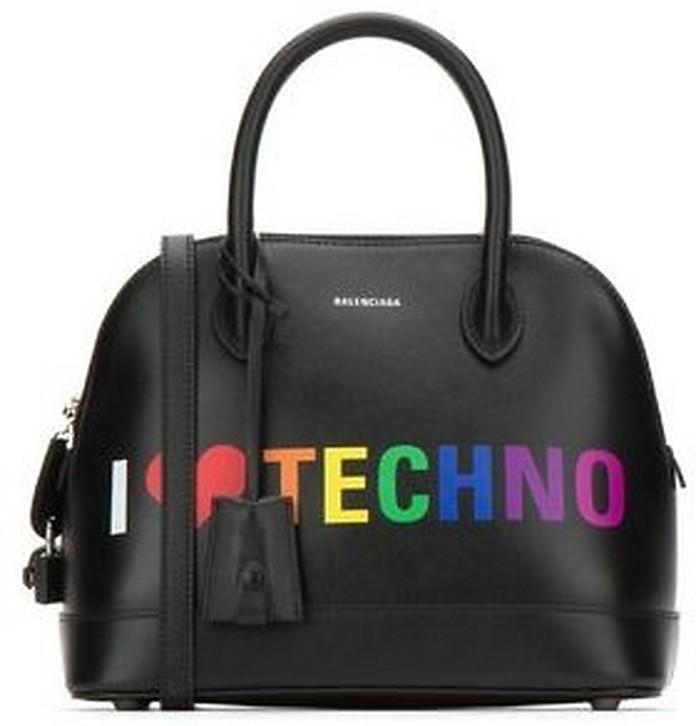 Black I Love Techno Leather S Ville Satchel Bag - Balenciaga