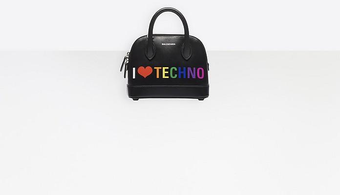 I Love Techno Black Leather Mini Top Handle Bag - Balenciaga
