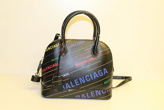 Ville S Black Leather Top Handle Bag - Balenciaga