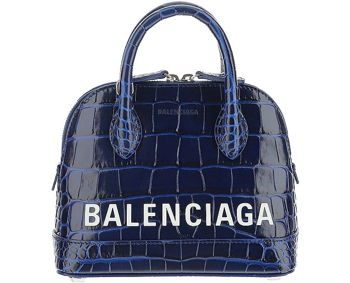 Blue Croco Embossed Signature Ville Mini Bowler Bag - Balenciaga