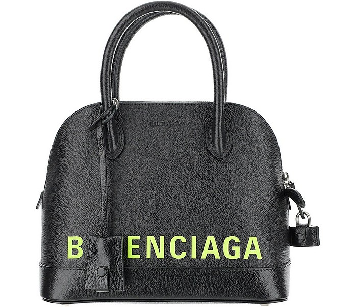 Black Leather Ville Mini Bowler Bag - Balenciaga