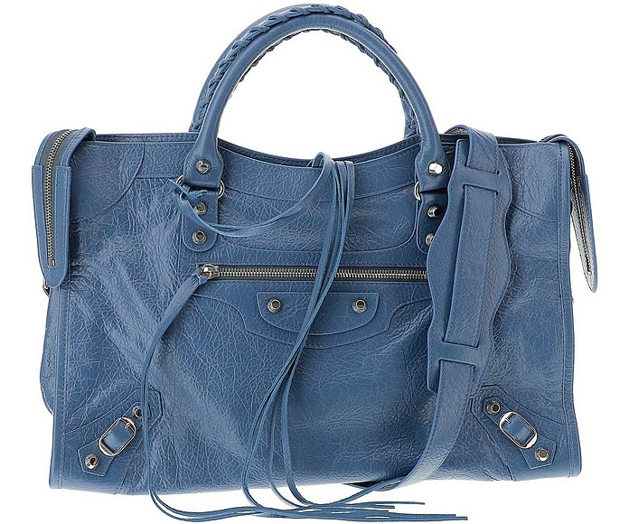 Denim Blue Leather Classic City Satchel Bag - Balenciaga 巴黎世家
