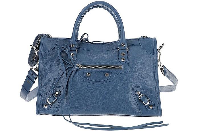 City line Denim Blue Leather Shoulder Bag - Balenciaga