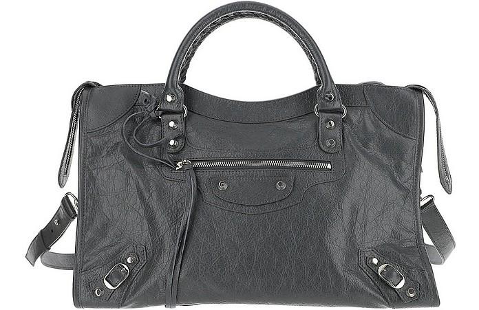 City line Graphite Leather Shoulder Bag - Balenciaga