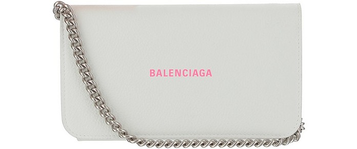 White Signature Wallet/Clutch w/Chain Strap - Balenciaga