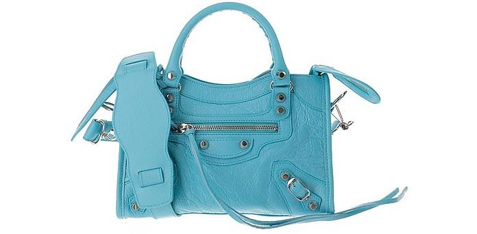 Light Blue Leather Mini City Shoulder Bag - Balenciaga