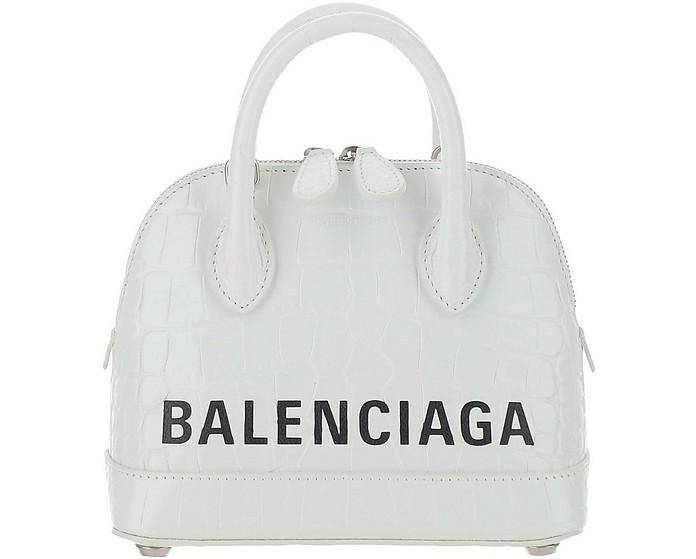 White Leather Ville Top XXS Bowler Bag - Balenciaga