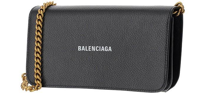 Black Signature Wallet/Clutch w/Chain Strap - Balenciaga