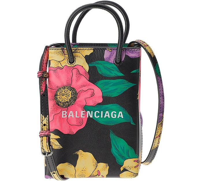 Floral Printed Leather Phone Holder Shopping Bag - Balenciaga