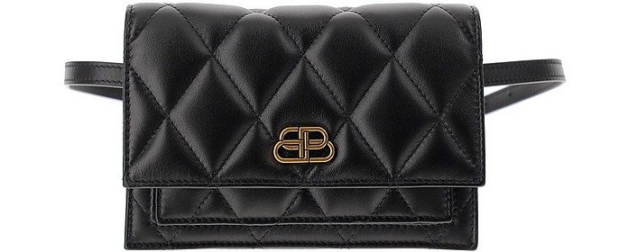 BB Tissue Black Quilted Leather Belt Bag - Balenciaga